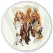 Bracco Italiano W/ghost Round Beach Towel