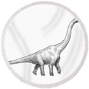 Brachiosaurus Black And White Dinosaur Drawing  Round Beach Towel