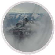 Brahma Temple In A Sea Of Clouds Round Beach Towel