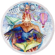Brain Child Round Beach Towel