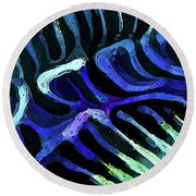 Brain Coral Abstract 3 In Blue Round Beach Towel