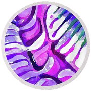 Brain Coral Abstract 4 In Purple Round Beach Towel