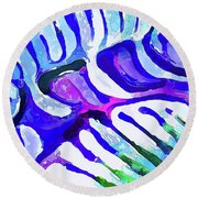 Brain Coral Abstract 5 In Blue Round Beach Towel