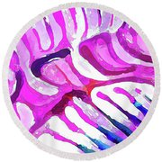 Brain Coral Abstract 7 In Pink Round Beach Towel