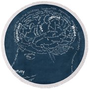 Brain Drawing On Chalkboard Round Beach Towel