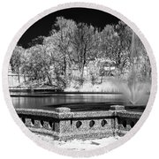 Round Beach Towel featuring the photograph Branch Brook Park New Jersey Ir by Susan Candelario