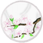 Branch With White Flowers Round Beach Towel