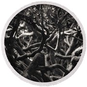 Branches In Monochrome Round Beach Towel by Liz Alderdice