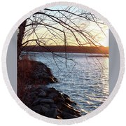 Late-summer Riverbank Round Beach Towel