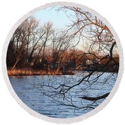 Branches Over Water Round Beach Towel