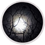 Branches To The Moon Round Beach Towel
