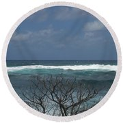Branches Waves And Sky Round Beach Towel