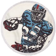 Brandon Jacobs 1 Round Beach Towel by Jeremiah Colley