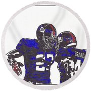Round Beach Towel featuring the drawing Brandon Jacobs And Ahmad Bradshaw by Jeremiah Colley