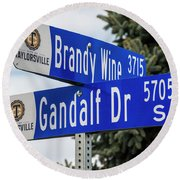 Brandywine And Gandalf Street Signs Round Beach Towel by Gary Whitton