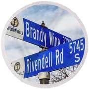 Brandywine And Rivendell Street Signs Round Beach Towel by Gary Whitton