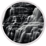 Brandywine Falls At Cuyahoga Valley National Park B W Round Beach Towel
