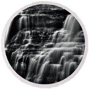 Brandywine Falls At Cuyahoga Valley National Park B W Round Beach Towel