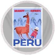 Braniff Airways Peru Child And Llama Travel Poster Round Beach Towel