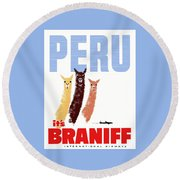 Braniff Airways Peru Llamas Travel Poster Round Beach Towel