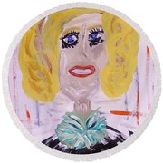 Round Beach Towel featuring the painting Brash Blond by Mary Carol Williams