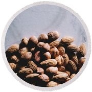 Brasilian Nuts And Almonds On A Pile. Healthy Snacks. Round Beach Towel