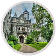 Round Beach Towel featuring the photograph Braunfels Castle by David Morefield