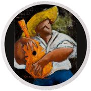 Round Beach Towel featuring the painting Bravado Alla Prima by Oscar Ortiz