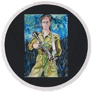 Bravado, An Israeli Woman Soldier Round Beach Towel by Esther Newman-Cohen