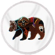 Brave Bear Round Beach Towel