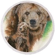 Round Beach Towel featuring the painting Brawny by Barbara Keith