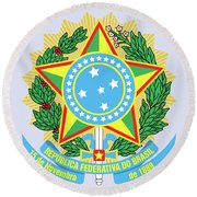 Round Beach Towel featuring the drawing Brazil Coat Of Arms by Movie Poster Prints