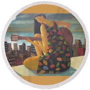 Round Beach Towel featuring the painting Brazil by Glenn Quist