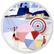 Brazil Vintage Travel Poster Restored Round Beach Towel