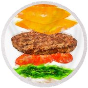 Brazilian Salad Cheeseburger Round Beach Towel