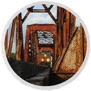Brazos River Railroad Bridge Round Beach Towel