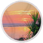 Breach Inlet Sunrise Palmetto  Round Beach Towel