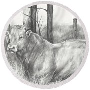 Round Beach Towel featuring the drawing Breaker Study by Meagan  Visser