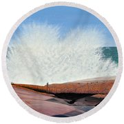 Round Beach Towel featuring the painting Breakers On Georgian Bay by Kenneth M  Kirsch