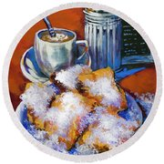 Breakfast At Cafe Du Monde Round Beach Towel