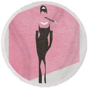Breakfast At Tiffany's Round Beach Towel by Ayse Deniz
