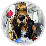Breakfast At Tiffany's Basset Hound Caricature Art Print Round Beach Towel