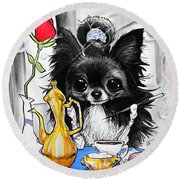 Breakfast At Tiffany's Papillon Caricature Art Print Round Beach Towel