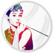 Breakfast At Tiffany's Round Beach Towel by The DigArtisT