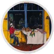 Breakfast In Capri Round Beach Towel