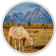 Breakfast In The Tetons Round Beach Towel