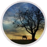 Grazing With A View Round Beach Towel
