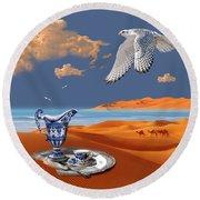 Round Beach Towel featuring the digital art Breakfast With White Falcon by Alexa Szlavics
