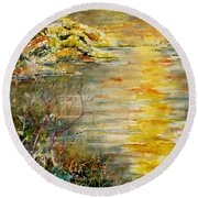Round Beach Towel featuring the painting New Horizons by Alfred Motzer