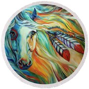 Breaking Dawn Indian War Horse Round Beach Towel
